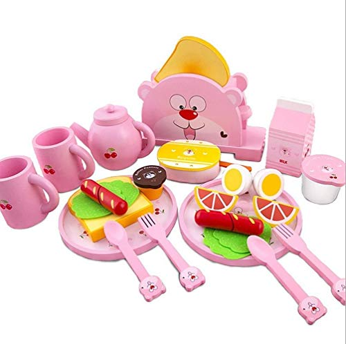 Kids's Wooden Breakfast Interesting Toy Tea Pot Dinner Ware Toaster Set Play Food and Kitchen Accessories Best Birthday Gift 0308