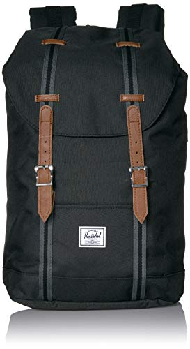Herschel Unisex-Erwachsene Retreat Multipurpose Backpack, Schwarz/Schwarz/Hellbraun, Classic