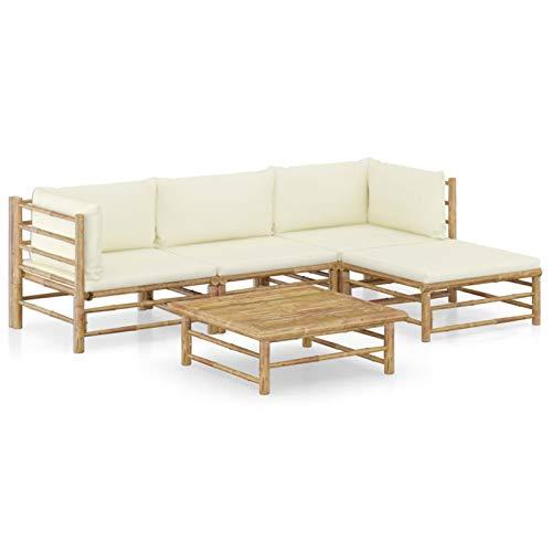 Tidyard Set de Muebles de Jardín 5 Piezas Sillones Mesa para Exterior Patio Terraza Bambú y Cojines Blanco Crema
