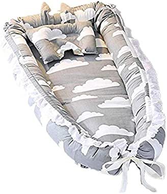 Satbuy Baby Bassinet for Bed- Grey Cloud Design Baby Lounger - Breathable & Hypoallergenic Co-Sleeping Baby Bed Cradles Loung