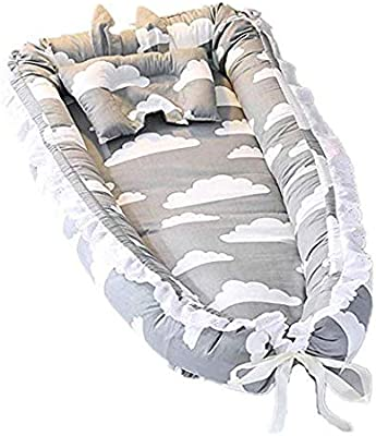 Satbuy Baby Bassinet for Bed- Grey Cloud Design Baby Lounger - Breathable & Hypoallergenic Co-Sleeping Baby Bed Cradles Lounger Cushion - 100% Cotton Portable Crib for Bedroom/Travel