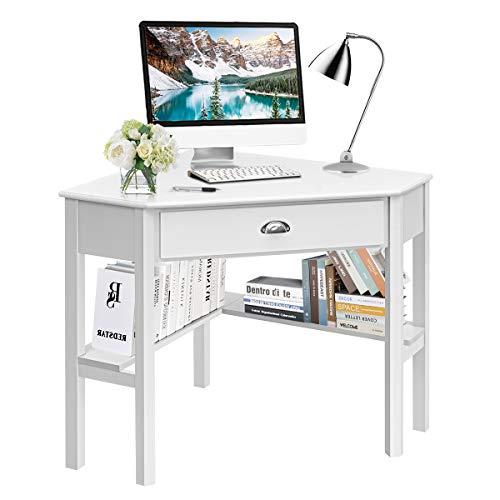 Tangkula White Corner Desk, Corner Computer Desk with Drawer, Wood Compact Home Office Desk, Corner Makeup Vanity Desk Writing Study Desk, 90 Degrees Corner Desk with Storage Shelves