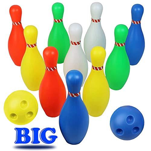 Großes Kinder Bowlingkugel Boule-Spiele KegelSpiel Drinnen Draußen Bowling-Set Party Spielzeug ab 3 4 5 Jahren, mit 2 Ball und 10 Pins