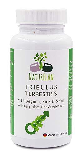 Tribulus Terrestris - 90 Kapseln - mit je 200mg Tribulus Terrestris und 200mg L-Arginin, Zink, Selen und Pantothensäure (Vitamin B5) - aus Deutschland - weniger Müdigkeit - Energiestoffwechsel