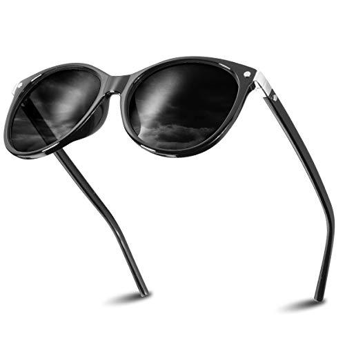 CHEREEKI Damen Mode Sonnenbrillen Oval Klassisch Brille Verspiegelt Sonnenbrille für Frauen UV400 Schutz (Schwarz Grau)