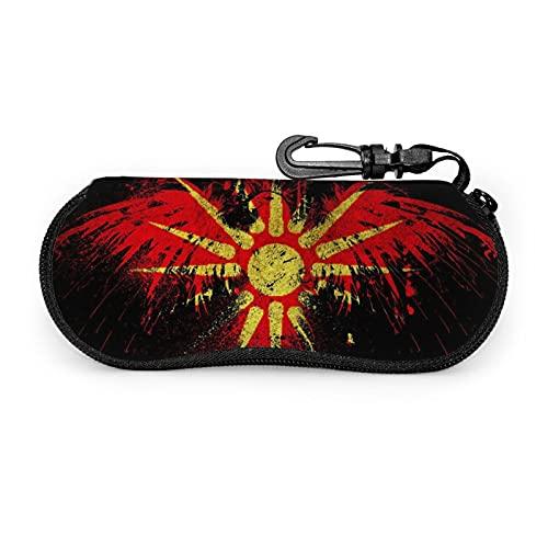 Estuche de gafas con cremallera retro Sun Eagle bandera Anti-Scratch portátil viaje suave horizontal gafas caso para hombres y mujeres