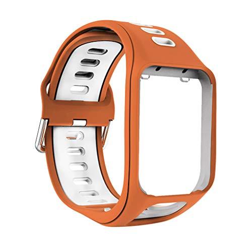 kdjsic Correa de Reloj de Silicona Suave Transpirable de Dos Tonos Reemplazo de la Pulsera de la Correa de muñeca para Tomtom Spark/Runner 2/3 / Adventurer Series