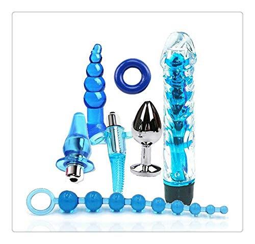 Z-one 1 7pc Soft Set Juguetes para adultos para parejas Bed Love Funny Games Kit Juguetes para adultos para hombres (Azul)