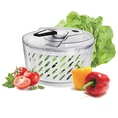 Freshmage Large 6 Quarts Salad Spinner, Easy Use Effortless Quick Drying Vegetable Fruit Salad Spinner Washer and Dryer with Clearance Salad Bowl and Mesh Colander