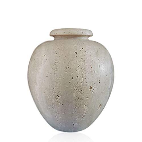 CBAM Vase, Tisch, Blumentopf aus hellem Travertin, Geschenkidee, Höhe 18 cm