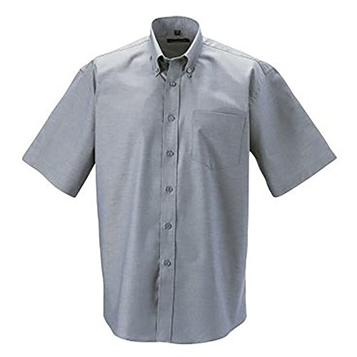 Russell Collection Easy Care Oxford Hemd für Männer, kurzarm (21 Zoll) (Siblergrau)