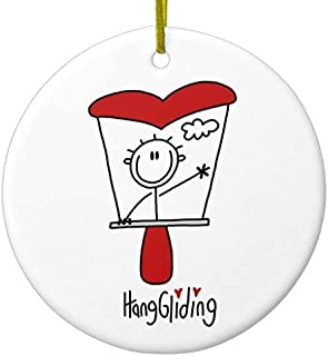 Ditooms Hang Gliding Stick Figure Ceramic Ornament Circle 3 Inches