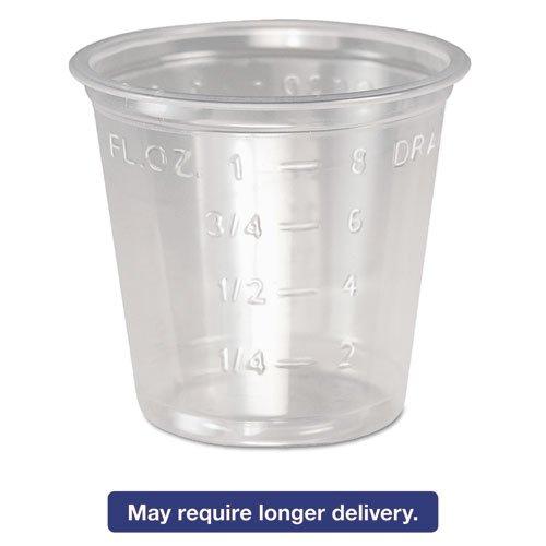 SOLO Cup Company Plastic Medical & Dental Cups, 1 oz, Clear, Graduated, 5000/Carton