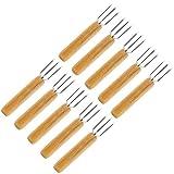 JPYH - Tenedor para patatas con 3 dientes de acero inoxidable, reutilizable...