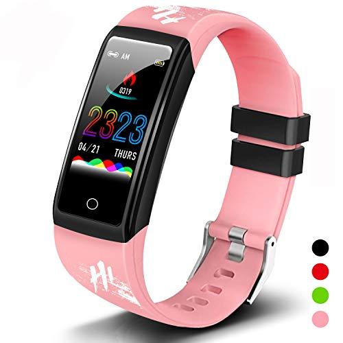 Smartwatch Reloj Inteligente Hombre Mujer Niños Impermeable IP68 Monitor Pulso Cardiaco Pulsera Actividad Reloj Inteligente Bluetooth Reloj Deportivo Rastreadores Cronómetro para Android iOS(Rosa)