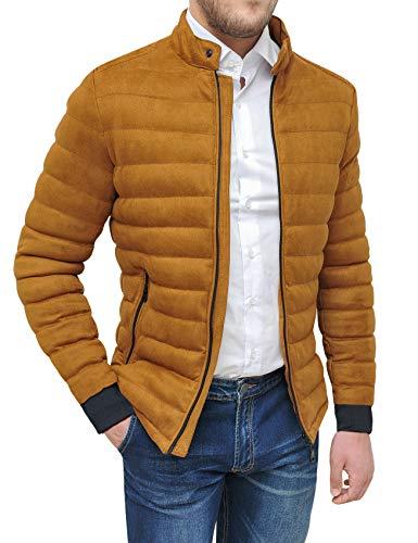 Evoga Cappotto Giacca Uomo Scamosciato Casual Slim Fit Invernale Giubbotto Bomber camoscio (XL, A22 Cammello)