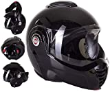 Casco de Moto Reversible Viper Cascos Modular RS-202Flip-Up Casco Abatible cm-, Casco Jet ECE homologado, Negro, L