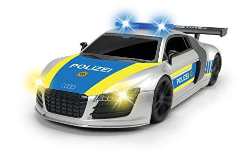 Dickie Toys RC Police Patrol, ferngesteuertes Fahrzeug, mit Lenkungsfeineinstellung, Lichteffekte, Sirenensound während der Fahrt (deutsche Version), bis zu 8 km/h, 28 cm