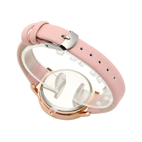 Top Plaza Womens Ladies Fashion Leather Wrist Watch Elegant Simple Butterfly with Floated Rhinestones Analog Quartz Dress Watch