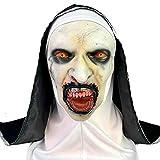 KLJAI Máscara de Maquillaje de Horror de Halloween Cara de Fantasma Completo Conjunto de Cabeza de látex Aterrador Monjas Nuevas Hermanas de Terror, Nuevas Hermanas de Terror