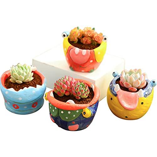 AOTEMAN Maceta de cerámica para suculentas de animales, para decoración del hogar, jardín, maceta de flores suculentas (4 unidades)