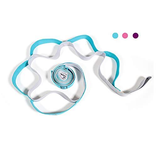TClian Yogagurt, 12 Schlaufen Yoga Stretch Gurt & Nicht elastisches Band für tägliche Dehnung, Physiotherapie, Pilates, Tanz und Gymnastik mit Tragetasche (Blau)