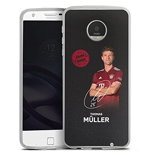 DeinDesign Silikon Hülle kompatibel mit Lenovo Moto Z Play Hülle transparent Handyhülle FC Bayern München Thomas Müller Offizielles Lizenzprodukt