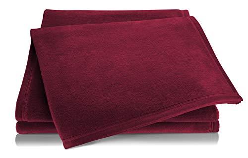 biederlack® Flauschige Kuschel-Decke Pure Cotton I Made in Germany I Öko-Tex Standard 100 I Wohn-Decke aus 100prozent Baumwolle in dunkelrot I Couch-Decke 150x200 cm I nachhaltig produziert