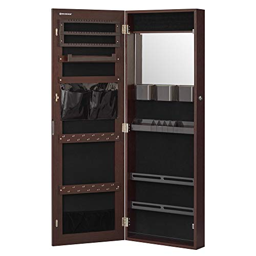 SONGMICS Lockable Jewelry Cabinet Armoire, Wall-Mounted Storage Organizer with Full-Length Frameless Mirror, 14.8 x 3.8 x 42.5 Inches, Brown