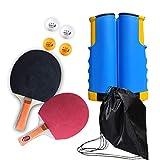 RZJMYUE Mesa de Ping Pong Conjunto de paletas con retráctil Neto Profesional Paleta de Ping Pong Conjunto de Cualquier Lugar del Ping-Pong Equipo To-Go, Incluye 2 paletas, 4 Bolas, 1 Bolso de Lazo