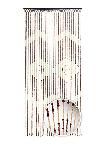 Kobolo Holzperlenvorhang Türvorhang - Valencia - 31 Stränge - Zackenmuster - 90x200
