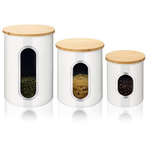 3er Set Vorratsdose, Metall Vorratsbehälter für Lebensmittel mit Luftdichten Bambusdeckeln und Durchsichtigem Fenster, Aufbewahrungsbehälter für Kaffee, Tee, Getreide, Trockenfutter, Weiß
