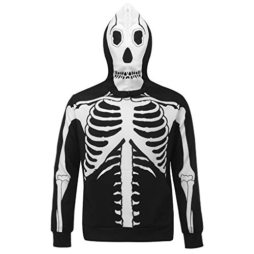 Mens 2020 Halloween Fashion Long Sleeve 3D Skeleton Print T Shirt Round Neck Blouse Top (XXXL, Hoodie-Black)