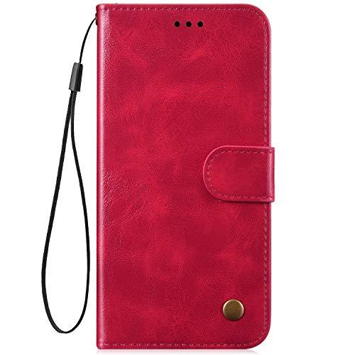 Kompatibel mit Honor 10 Lite/P Smart 2019 Hülle Tasche Premium PU Leder Retro Einfarbig Brieftasche Lederhülle Magnetisch Flip Case Stand Funktion Handyhülle Klapphülle für Männer Frau - Rot