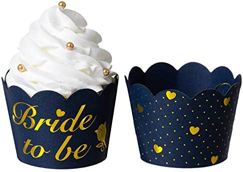 KEY SPRING Bride to Be and Gold Heart Polka Dot Reversible Cupcake Wrappers Navy Blue 36 PCS product image