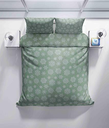 Funda de edredón, funda de almohada, diseño de copo de nieve, color azul