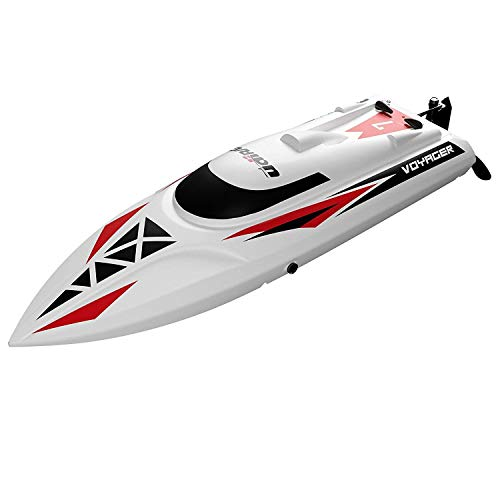 Remote Control Boat for Pools and Lakes – UDI007 Voyager RC Boat for Adults and Kids, Self Righting RC Speed Boats Pool Toys w/Extra Battery (White)