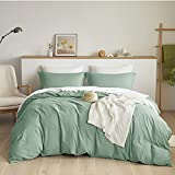 Bedsure Green Duvet Covers Queen Size - Brushed Microfiber Soft Queen Duvet Cover Set 3 Pieces with Zipper Closure, 1 Duvet Cover 90x90 inches and 2 Pillow Shams
