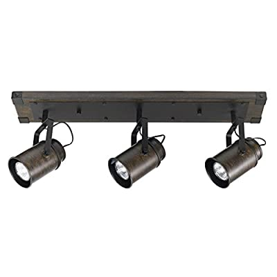 Globe Electric 59316 Williamsburg 3-Light Track Lighting, Dark Wood