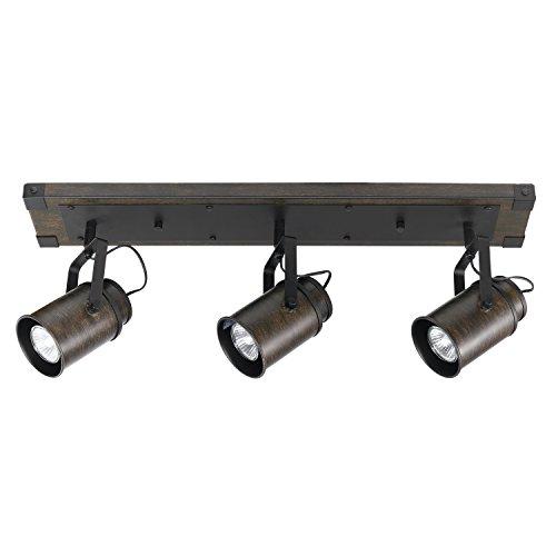 Globe Electric 59316 Williamsburg 3-Light Track Lighting, Dark Wood Finish, Metal Accents, Bulbs Included