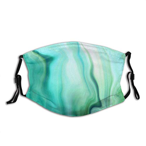 Face Cover Green Turquoise Stone Abstract Marbled Agate Map Gem Emerald Pearl Ombre Paint Marble Batik Effect Balac