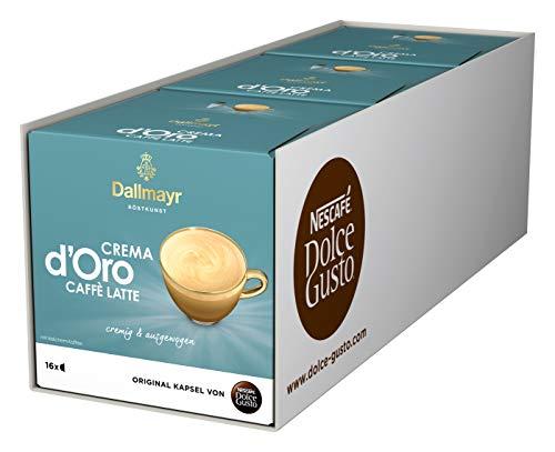 NESCAFÉ Dolce Gusto Dallmayr Crema d'Oro Caffè Latte (48 Kaffeekapseln, 48 Getränke, cremig & ausgewogen) 3er Pack (3 x 16 Kapseln)