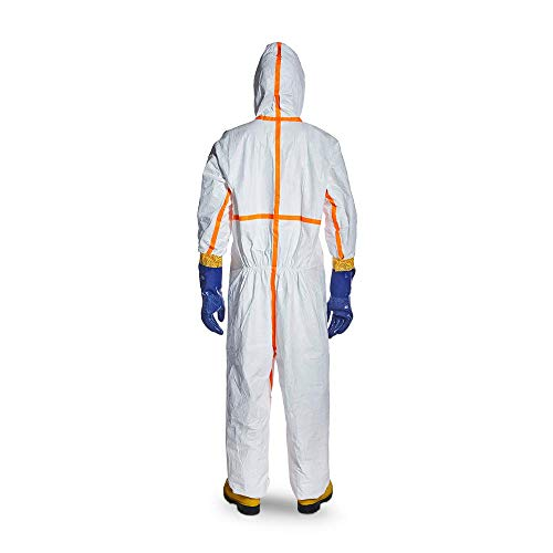 DuPont TJ198TWHSM0025PI Tyvek 800 TJ198T CE-Certified Cat-III Type-3/4/5/6 Chemical Protective Coverall Suit with Sealed Bag, White, Small