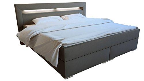 SAM LED-Boxspringbett 160x200 cm Austin, Kunstleder grau, Nosagfederkern, 7-Zonen H3 Bonellfederkern-Matratze, Kaltschaum-Topper