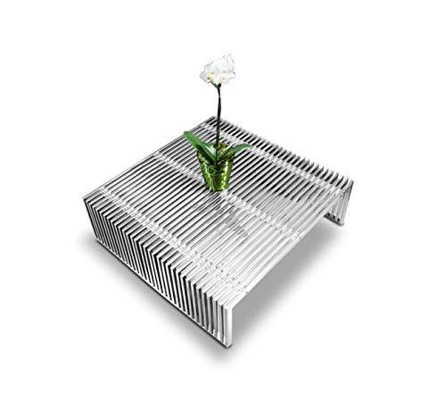 NEUERRAUM Bauhaus Edelstahl Couchtisch mit Plexiglas Distanzhülsen. Maße 100 x 97 x 31 cm. Passende Bank, Hocker und Sideboard bestellbar.