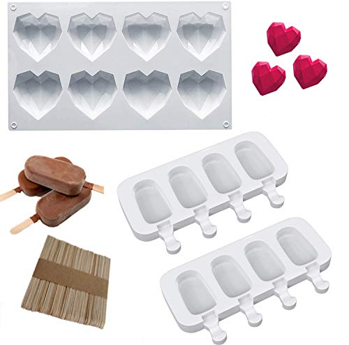 8 Cup Heart Shaped Silicone Mold Diamond Dessert Tray 2 X 4 Cavities Oval Ice Cream Popsicle Molds with 50 Pieces Wooden Sticks for Chocolate Ice Cream DIY Baking