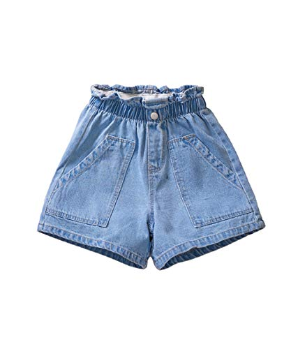 ICECTR Toddler Baby Boys Girls Denim Shorts Elastic High Waist Buttons Ripped Short Jeans Summer Casual Outfit (#2 Blue 1, 6-7T)