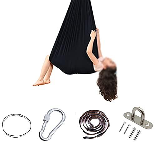 QYQS Columpios Infantiles Exterior Hamaca de Interior para Niños con Necesidades Especiales Columpios de Yoga para Uso En Interiores con Accesorios(Size:100x280cm,Color:Negro)