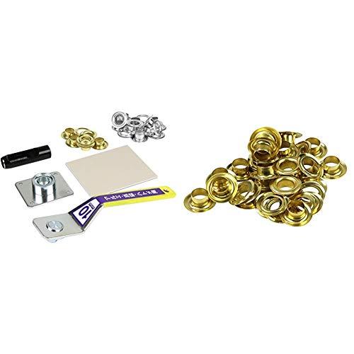 SK11 両面ハトメパンチ ハトメ穴径約10.0mm No.1200 & 両面ハトメの玉 真鍮 20組 ハトメ穴径約10.0mm No.120【セット買い】