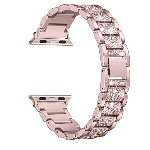 Secbolt Bling Bands Compatible with Apple Watch Band 42mm 44mm Women iWatch Series 5/4/3/2/1, Dressy Jewelry Metal Bracelet with Rhinestones, Rose Gold